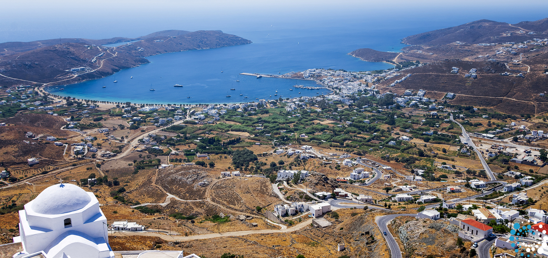 Big thumb view from top of a hill  in serifos island